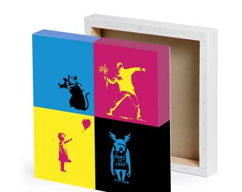 "Banksy styled stencils wall art print canvas 12"" x 12"" 300mm x 300mm CMYK"