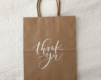Wedding Thank You Bags, Custom Gift Bags, Wedding Favors, Personalized Gift Bags, Hand Lettered, Calligraphy, Kraft Bags