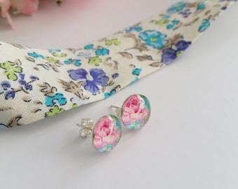 Beautiful Pink rose stud earrings, glass cabochon earrings