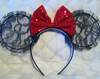 Lace Mouse Ears (with or without bow)