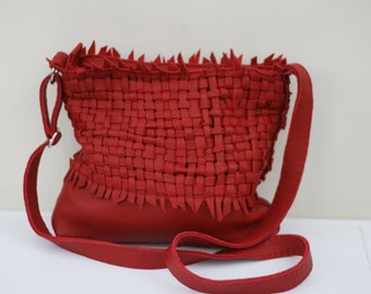 Handmade woven red leather slouchy bag purse
