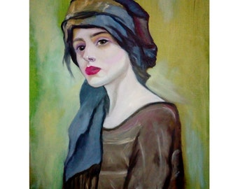Oil Painting Portrait , Painting , House Painting , JULIANNA , Vintage Art , Wall Art , Residential Painting , Original Oil Painting , Canva