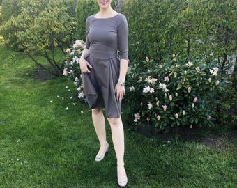 Her Business Lifestyle Dress with belt / taupe, elegant, classic, casual, kneelengths, 3/4 arms, Made in Germany, summerdress