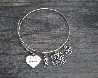 Swim Gift -Swim Bracelet –Swim Gift - Perfect for Swim Players, Swim Coaches & Team Gifts
