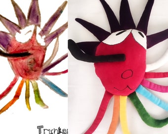 A plush toy from your drawing - 100% unique design and a best gift