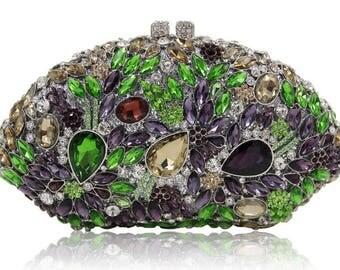 Destiny Multicolored crystal clutch, Evening bag, Evening purse, Evening clutch, women's clutch, bridal clutch, crystal clutch, clutches,