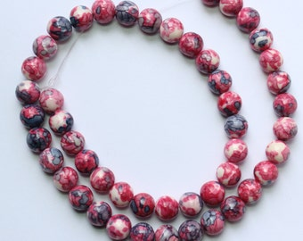 8mm Multi Colored Beads Red Pink Blue White Jade Rounds 15 inch Strand 48 Beads Stone Gemstone
