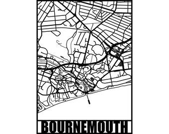 Bournemouth Map - Bournemouth wall art - Map of Bournemouth - seaside Art - papercut, not a print - housewarming gift - coastal art