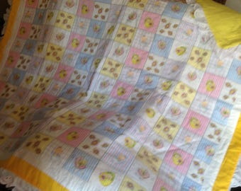 Very pretty baby or toddler girl quilt.  48x50