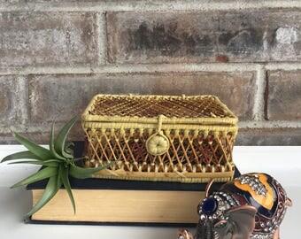 Vintage Rattan Wicker Storage Box//Jewelry Box//Bohemian Rattan Jewelry Box//Boho Keepsake Box