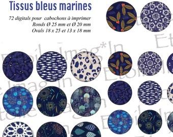 Board 72 digital * blue marine fabrics * printing for cabochons