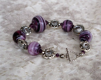 Purple/Pink/White Swirls Chunky Lampwork Bracelet with Swarovski Crystals OOAK