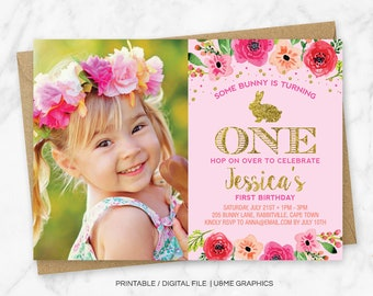 Some Bunny Is Turning One, Bunny Birthday Invitation, Floral Bunny Invitation, Glitter Bunny Invitation, First Birthday Invite, Printable