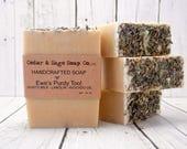 Lanolin Goatsmilk Soap | 6 oz+ Thick Bar | Lavender Soap | Essential Oil Soap | Avocado Oil Soap | Luffa Soap | Cold Process Soap | Homemade