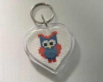 Owl Keychain - Completed Cross Stitch