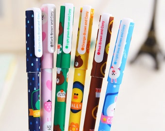 Line Friends Set of 6 Colored Gel Ink Pen, Pen, Bunny, Bear,Kawaii, Stationery