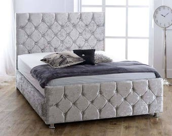 Crushed Velvet Chesterfield Bed | Memory Foam Mattress | Orthopaedic Mattress