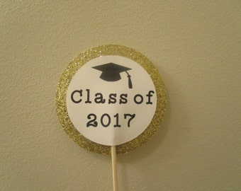 Graduation Cupcake toppers, Class of 2017 cupcake toppers - Set of 12