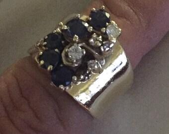 Custom Sapphire Diamond Waterfall Ring