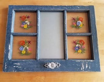 Blue Rustic Windowpane with multicolored flowers and magnetic message board