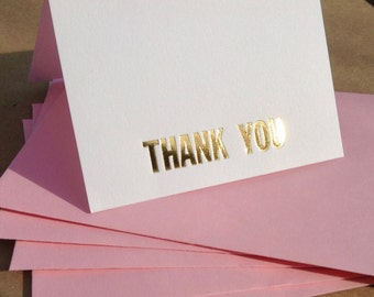 10 THANK YOU CARDS: Letterpress Embossed Gold Foil Thank You Card Set 10 Folded Thank You Notes With Envelopes Wedding Thank You Cards