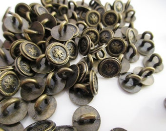6pc's, Round Metal Shank Buttons, Metal shank buttons
