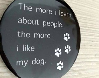 Quote dog pin button / Pin Buttons / Black & White pin button dog