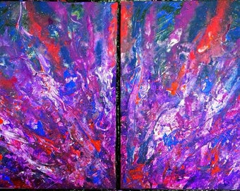 """SOLD - The Explosion, Abstract Acrylic Palette-Knife Painting, (2) - 12""""x16"""", Original on Canvas - SOLD"""