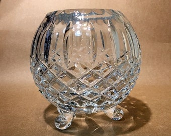 Vintage Crystal Globe Bowl - Crystal Dish - Crystal Candy Dish - Crystal Container