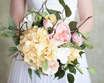 Bridal Bouquet, Pink Bouquet, Yellow Bouquet, Garden Bouquet, Wedding Flowers, Boho Bouquet, Silk Bouquet, Wedding Bouquet, Twig Bouquet