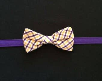 ECU Boys Purple & Gold Plaid Bow Tie, Boys Age 7-14 Purple and Gold Bow Tie, LSU Tigers Youth Purple and Gold Plaid Bow Tie, Boys Plaid Tie