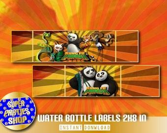 kung fu panda Digital Printable Party Water Bottle Labels, Custom Party, kung fu panda ,Birthday,kit, pack,Custom