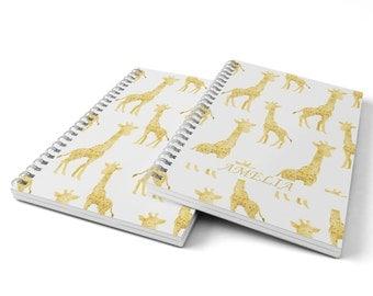 Giraffe Notebook.  Hard Cover Spiral Notebook. Notepad. Journal.