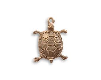 Vintaj Brass Turtle Charm, Brass Turtle