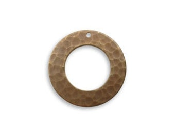 Vintaj Brass Hammered Ring, Brass Ring Component, Hammered Ring Pendant
