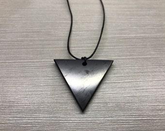 Shungite Pendant Triangle Original Polished Jewelry Protection Healing Karelia Schungit