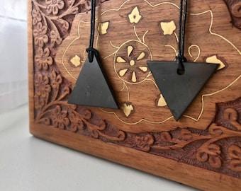 Shungite Pendant Set of 2 PCs''Triangle'' Original Polished Jewelry EMFnProtection Healing Karelia Schungit