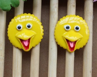 6 Sesame Street Flatback Resins Big Bird Resin Flatbacks Flat Backs DIY Craft Project Scrapbooking Girls Hair Bows Barrettes Hair Springs