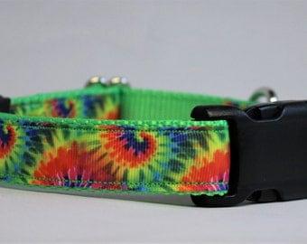 "Tie Dye adjustable dog collar - 1"" wide"