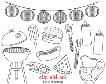 Summer BBQ, Barbecue, Grill - Cute Digital Stamps, Line Art  - Commercial Use, Instant Download