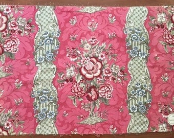 19th C French Floral and Damask Cotton Chintz Fabric