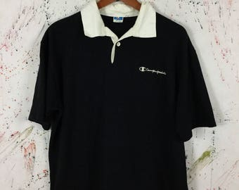 Vintage Champion Rugby Polo Shirt Size L 90s Hip Hop