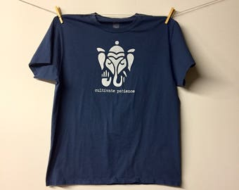 Cultivate Patience - Mens XL Extra Large Steel Blue T Shirt - Screen Print