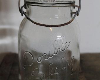 Old School Mason Jar With Glass Lid Boston Mass