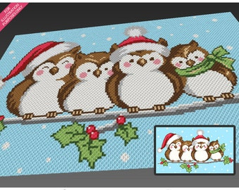 Four Christmas Owls crochet blanket pattern; c2c, cross stitch; knitting; graph; pdf download; no written counts or row-by-row instructions
