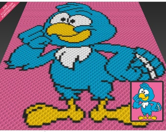 Blue Parrot crochet blanket pattern; c2c, cross stitch; knitting; graph; pdf download; no written counts or row-by-row instructions