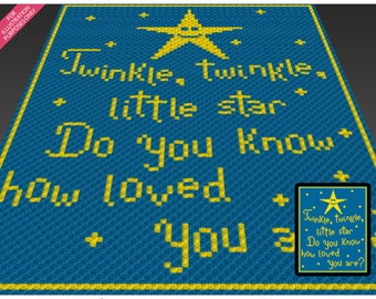 Twinkle, Twinkle crochet blanket pattern; c2c, cross stitch; knitting; graph; pdf download; no written counts or row-by-row instructions
