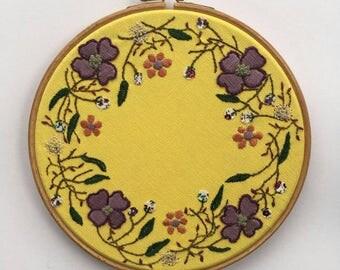 Yellow Flower Wreath, Embroidery Hoop, Wall Art, Home Decor
