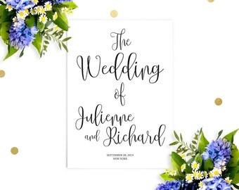 Printable Wedding Program-Chic Calligraphy Wedding Ceremony Order-DIY Affordable Wedding Programs-Rustic Wedding Programs-Ceremony Program