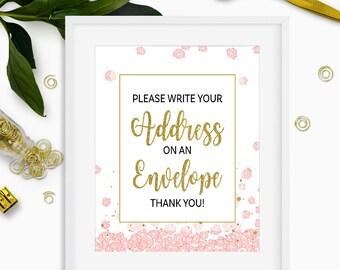 Pink and Gold Please Write Your Address on an Envelope-DIY Printable Bridal Shower Envelope Station-Instant Download-Glitter Floral Sign